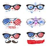 Γυαλιά Hipster με τα αστέρια και τις λουρίδες Διανυσματική απεικόνιση