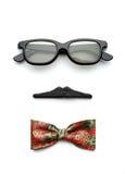 Γυαλιά, mustache και τόξο-δεσμός που διαμορφώνουν το πρόσωπο ατόμων στοκ εικόνα με δικαίωμα ελεύθερης χρήσης