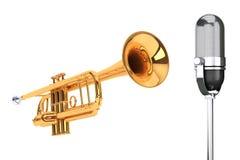 Γυαλισμένη σάλπιγγα ορείχαλκου με το εκλεκτής ποιότητας ασημένιο microphon Στοκ εικόνες με δικαίωμα ελεύθερης χρήσης