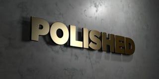 Γυαλισμένος - το χρυσό σημάδι τοποθέτησε στο στιλπνό μαρμάρινο τοίχο - τρισδιάστατο δικαίωμα ελεύθερη απεικόνιση αποθεμάτων διανυσματική απεικόνιση