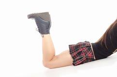 Γυμνά θηλυκά πόδια στις μπότες Στοκ Εικόνα