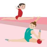 Γυμναστικά διανυσματικά κινούμενα σχέδια αθλητικού αθλητισμού Στοκ Εικόνες