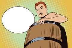 Γυμνό άτομο μέσα σε ένα βαρέλι Καταστροφή και χρέη Στοκ Φωτογραφία