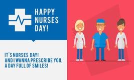 Γυναίκας ομάδας ημέρας νοσοκόμων έννοιας άνθρωποι δύο και νοσοκόμα ανδρών διανυσματική απεικόνιση