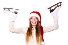 Γυναίκα Άγιος Βασίλης με τα σαλάχια πάγου Στοκ Εικόνες