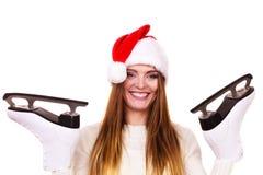 Γυναίκα Άγιος Βασίλης με τα σαλάχια πάγου Στοκ εικόνες με δικαίωμα ελεύθερης χρήσης
