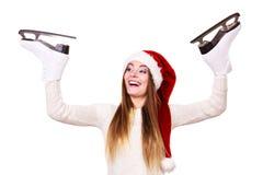 Γυναίκα Άγιος Βασίλης με τα σαλάχια πάγου Στοκ φωτογραφία με δικαίωμα ελεύθερης χρήσης
