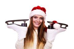 Γυναίκα Άγιος Βασίλης με τα σαλάχια πάγου Στοκ φωτογραφίες με δικαίωμα ελεύθερης χρήσης
