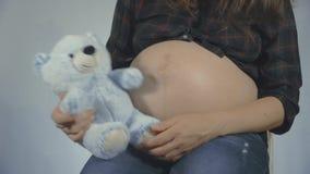 Γυναίκα έγκυος με την εκμετάλλευση παιδιών teddybear κοντά στο παιχνίδι κοιλιών φιλμ μικρού μήκους