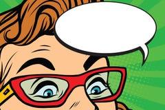 Γυναίκα έκπληκτα στα γυαλιά μάτια ελεύθερη απεικόνιση δικαιώματος