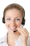 γυναίκα ακουστικών Στοκ Εικόνα