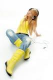 γυναίκα ακουστικών στοκ εικόνες με δικαίωμα ελεύθερης χρήσης
