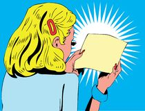 γυναίκα ανάγνωσης απεικό&n Στοκ φωτογραφία με δικαίωμα ελεύθερης χρήσης