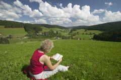 γυναίκα ανάγνωσης λιβαδ&i Στοκ εικόνα με δικαίωμα ελεύθερης χρήσης