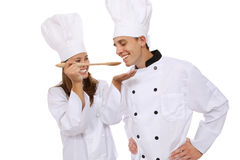 γυναίκα ανδρών αρχιμαγείρ&o Στοκ Φωτογραφίες