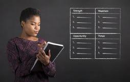 Γυναίκα αφροαμερικάνων που γράφει στην ανάλυση ΑΓΓΑΡΕΙΑΣ ημερολογίων βιβλίων στο υπόβαθρο πινάκων Στοκ Εικόνα
