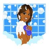 Γυναίκα αφροαμερικάνων που παίρνει ένα λουτρό με τον αφρό σφουγγαριών και φυσαλίδων διανυσματική απεικόνιση