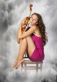 γυναίκα βιολιών Στοκ Φωτογραφία