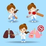 Γυναίκα γιατρών κινούμενων σχεδίων με το τσιγάρο ελεύθερη απεικόνιση δικαιώματος