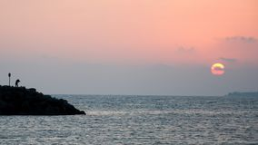 Γυναίκα δίπλα στη θάλασσα στο ηλιοβασίλεμα στοκ φωτογραφίες με δικαίωμα ελεύθερης χρήσης