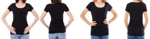 Γυναίκα δύο στη μαύρη μπλούζα: καλλιεργημένο μέτωπο εικόνας και οπισθοσκόπος, σύνολο μπλουζών, κενό μπλουζών προτύπων στοκ φωτογραφίες με δικαίωμα ελεύθερης χρήσης