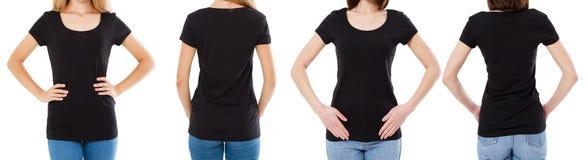 Γυναίκα δύο στη μαύρη μπλούζα: καλλιεργημένο μέτωπο εικόνας και οπισθοσκόπος, σύνολο μπλουζών, κενό μπλουζών προτύπων στοκ φωτογραφίες