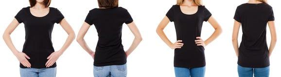 Γυναίκα δύο στη μαύρη μπλούζα: καλλιεργημένο μέτωπο εικόνας και οπισθοσκόπος, σύνολο μπλουζών, κενό μπλουζών προτύπων στοκ φωτογραφία με δικαίωμα ελεύθερης χρήσης