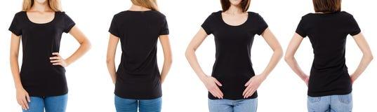 Γυναίκα δύο στη μαύρη μπλούζα: καλλιεργημένο μέτωπο εικόνας και οπισθοσκόπος, σύνολο μπλουζών, κενό μπλουζών προτύπων στοκ φωτογραφία