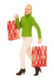γυναίκα δώρων Χριστουγέννων τσαντών Στοκ εικόνα με δικαίωμα ελεύθερης χρήσης