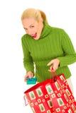 γυναίκα δώρων Χριστουγέννων τσαντών Στοκ Εικόνες