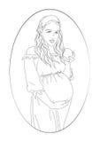 Γυναίκα εγκυμοσύνης στον κύκλο Στοκ φωτογραφία με δικαίωμα ελεύθερης χρήσης