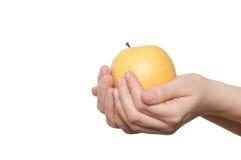 γυναίκα εκμετάλλευσης χεριών μήλων Στοκ εικόνες με δικαίωμα ελεύθερης χρήσης