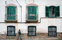 Γυναίκα ενάντια στην ηλικίας εκλεκτής ποιότητας πρόσοψη οικοδόμησης με τα μπαλκόνια ανοικτό παράθυρο μπαλκον κλασικά ευρωπαϊκά  στοκ εικόνες