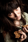 Γυναίκα επαιτών με το ψωμί Στοκ εικόνες με δικαίωμα ελεύθερης χρήσης