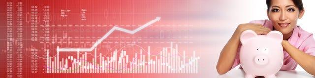 Γυναίκα επενδυτών με τη piggy τράπεζα διανυσματική απεικόνιση