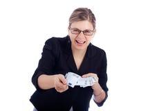 γυναίκα επιχειρησιακής ευρο- ευτυχής εκμετάλλευσης τραπεζογραμματίων στοκ φωτογραφίες