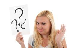 γυναίκα ερώτησης σημαδιών στοκ εικόνες