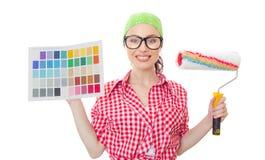 Γυναίκα ζωγράφων σπιτιών Στοκ φωτογραφίες με δικαίωμα ελεύθερης χρήσης