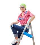 Γυναίκα ζωγράφων σπιτιών Στοκ φωτογραφία με δικαίωμα ελεύθερης χρήσης