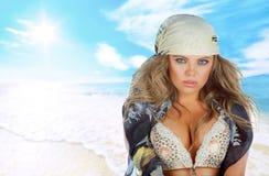 γυναίκα θάλασσας παραλ&io στοκ εικόνες