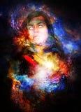 Γυναίκα θεών στο κοσμικό διάστημα Κοσμικό διαστημικό υπόβαθρο Στοκ Εικόνες