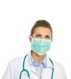 Γυναίκα ιατρών που ανατρέχει στο διάστημα αντιγράφων Στοκ εικόνα με δικαίωμα ελεύθερης χρήσης