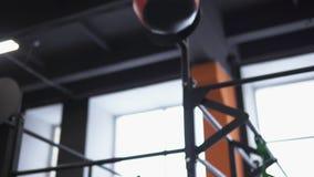 Γυναίκα ικανότητας που κάνει τη διαγώνια κατάρτιση σφαιρών τοίχων στη γυμναστική φιλμ μικρού μήκους