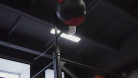 Γυναίκα ικανότητας που κάνει τη σφαίρα τοίχων workout στη γυμναστική απόθεμα βίντεο
