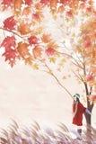 Γυναίκα κάτω από το δέντρο και ταξίδι στα τέλη του φθινοπώρου - γραφική σύσταση ζωγραφικής απεικόνιση αποθεμάτων