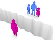 Γυναίκα και άνδρας με τα παιδιά που χωρίζονται στις πλευρές, ρωγμή χωρισμού. διανυσματική απεικόνιση