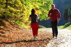 Γυναίκα και άνδρας το διαγώνιο μονοπάτι για βάδισμα χωρών στο δάσος φθινοπώρου Στοκ Φωτογραφία