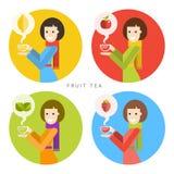Γυναίκα και ένα καυτό φλυτζάνι του τσαγιού φρούτων Διανυσματική απεικόνιση