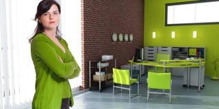Γυναίκα και γραφείο σε πράσινο Στοκ Εικόνες