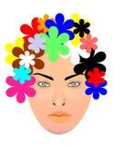 Γυναίκα και ζωηρόχρωμα λουλούδια Στοκ Φωτογραφίες